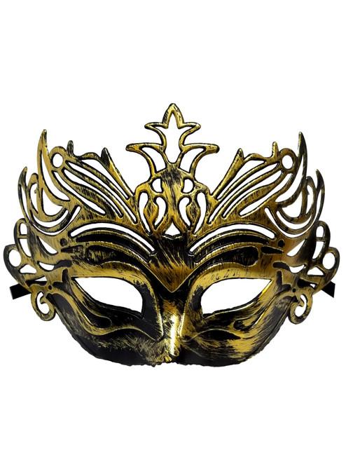 Dark Antique Gold Venetian Laser Cut Mardi Gras Masquerade Half Mask Crown