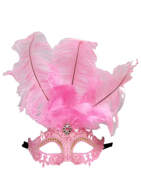 Crystal Princess Pastel Light Pink Venetian Feather Mardi Gras Masquerade Mask