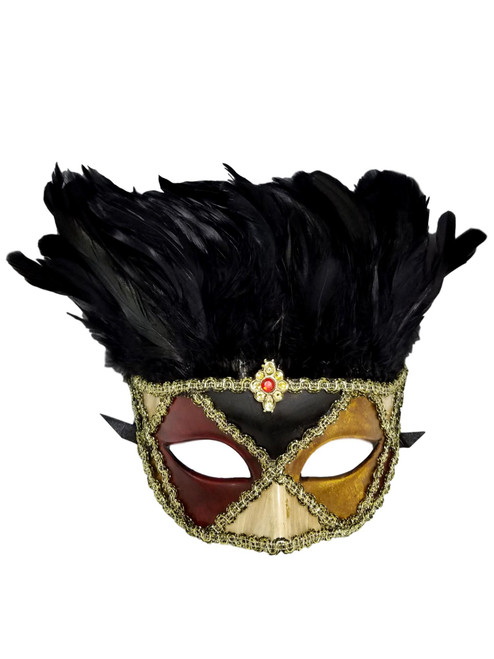 Crimson Gold Harlequin Venetian Feather Masquerade Mask
