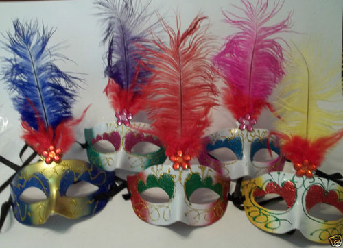 Masquerade Mardi Gras Dance Feather Flower Gem Mask Yellow Red
