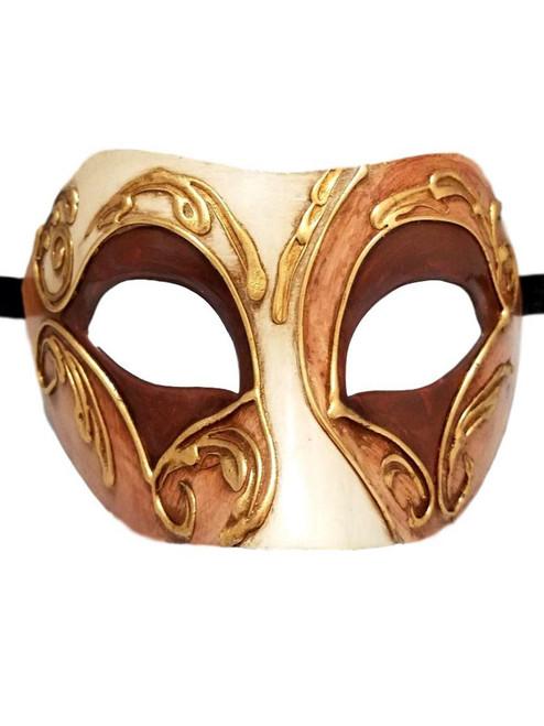 Brown Gold Colombina Masquerade Mask Italy Italian Venetian Made
