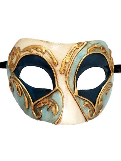 Blue Teal Gold Colombina Masquerade Mardi Gras Mask Italy Italian Venetian Made