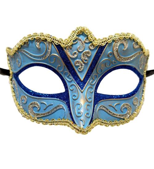 Blue Silver Gold Small Child Ornate Masquerade Mask