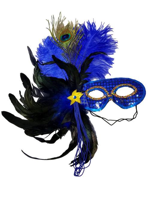Blue Royal Feather Masquerade Mardi Gras Costume Mask