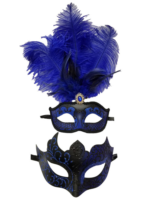 Blue Black Couples Man Woman Masquerade Mardi Gras Male Female Set Feather Mask