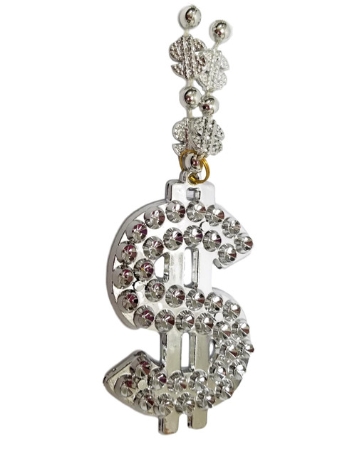 Silver Bling Dollar Sign Mardi Gras Beads Party Favors Bead