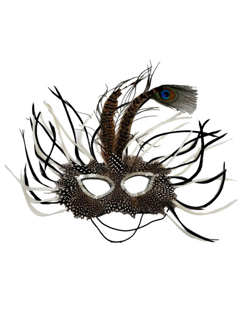 Black White Wild Feather Masquerade Mardi Gras Mask