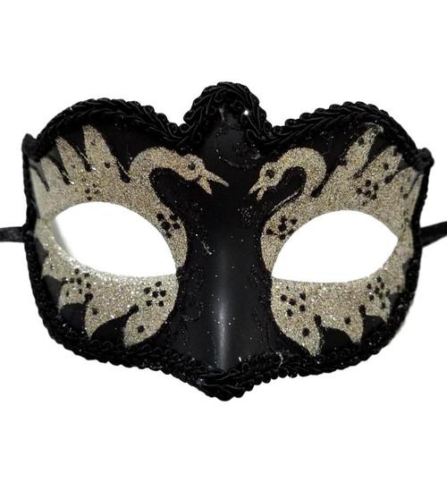 Black Silver Small Teen Masquerade Mardi Gras Swan Mask Prom Dance