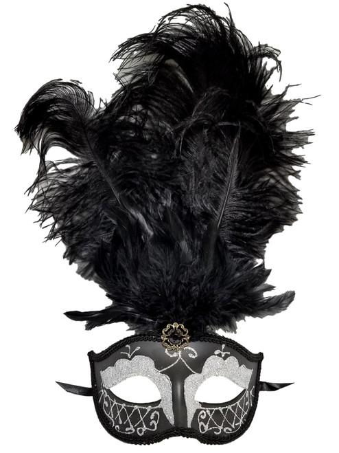 Black Silver Gem Venetian Feather Mask Carnival Mardi Gras