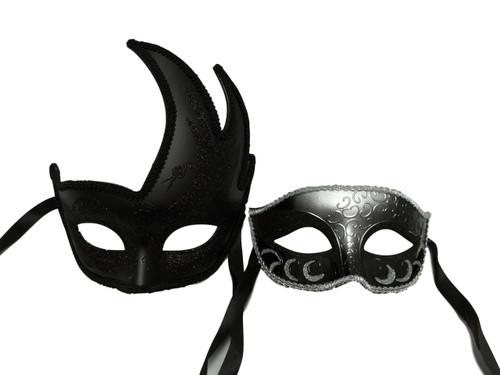 Black Silver Couples Man Woman Masquerade Mardi Gras Masks Set