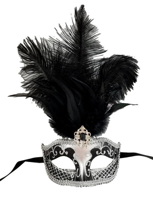 """Black Gray Silver Venetian Mask Feather Masquerade Mardi Gras 12"""""""