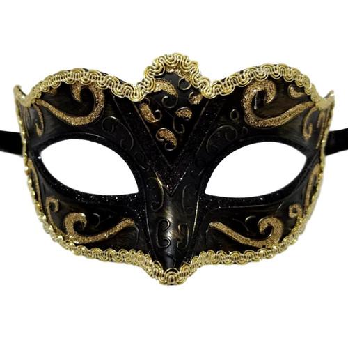 Black Gold Small Child Teen Ornate Masquerade Mardi Gras Mask Prom