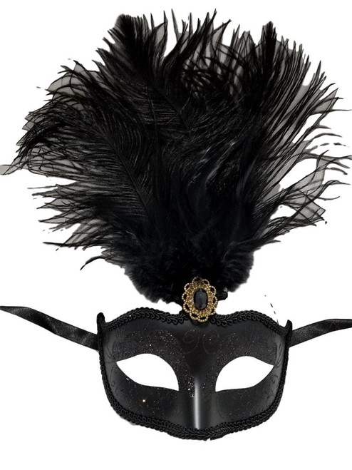 "Black Feather Venetian Masquerade Mardi Gras Mask 12"""