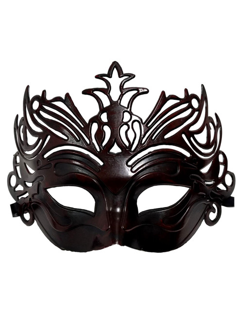Black Dark Red Venetian Laser Cut Mardi Gras Masquerade Half Mask Crown
