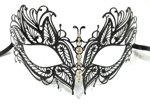 Black Crystal Butterfly Eyes Laser Cut Venetian Mask Masquerade Metal Filigree