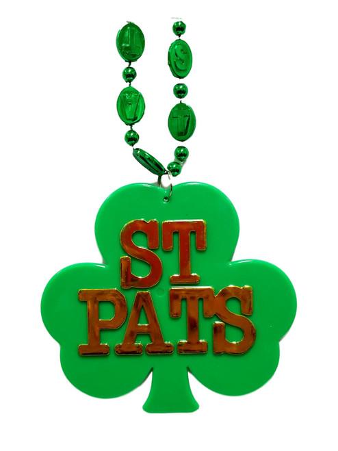 Big Green St Patrick's Day Shamrock Clover Mardi Gras Bead Necklace