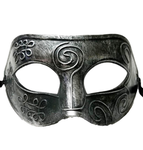 Antique Silver Gray Roman Greek Men Venetian Mardi Gras Party Masquerade Mask