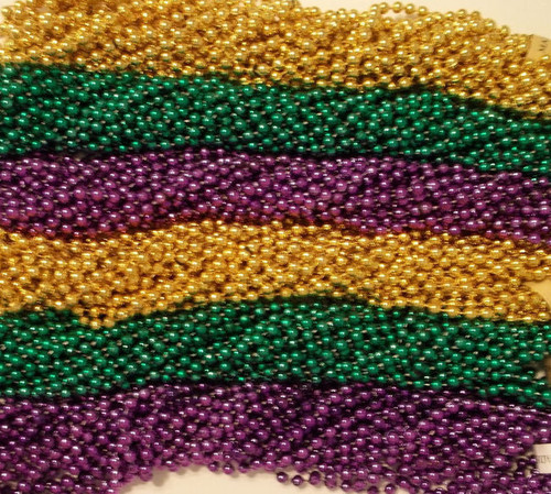 72 Purple Green Gold PGG Mardi Gras Beads Necklaces Party 6 Dz