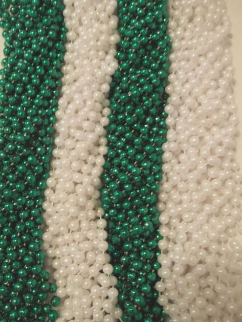 6 Dozen Mardi Gras Beads 72 Green, Pearl White St Patricks Day Parade Necklaces