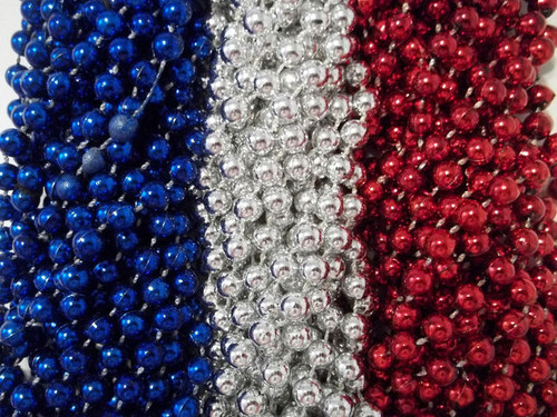 36 Red Silver Blue Mardi Gras Beads Patriots Superbowl