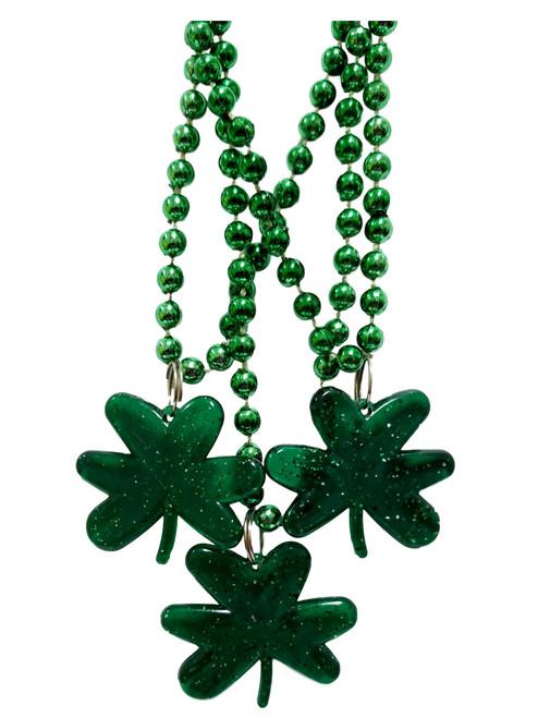 3 Green Shamrock St Patrick's Day Mardi Gras Bead Clover Beads