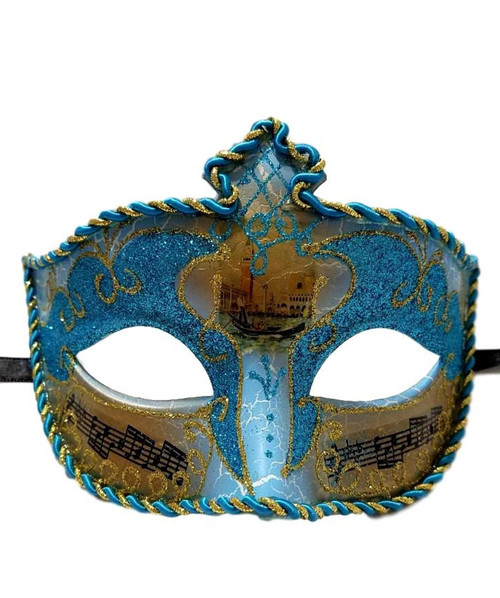 Aqua Blue Gold Music Antique Venetian Masquerade Mask