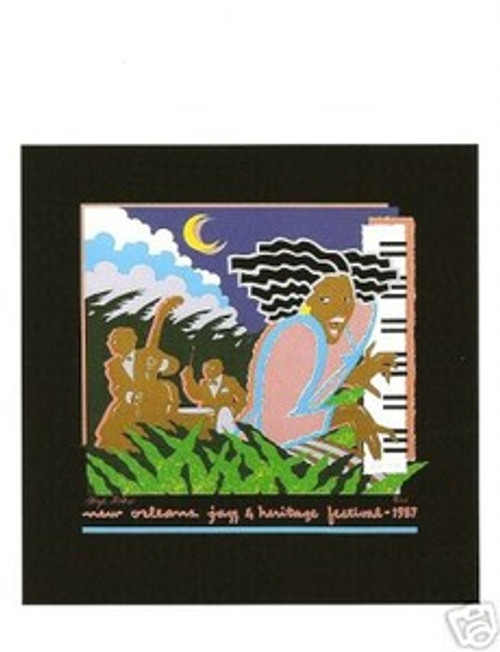 1987 New Orleans Jazz Festival Poster Post Card Postcard