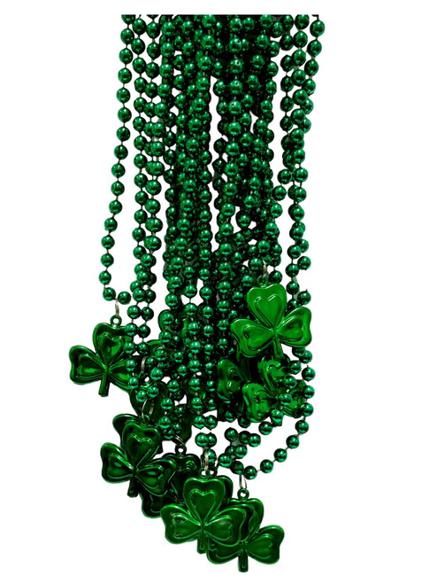 12 Green Shamrock St Patrick's Day Mardi Gras Bead Clover 1 Dozen