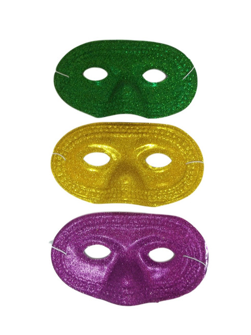 12 Glitter Half Masks Mardi Gras Masquerade Party Mask