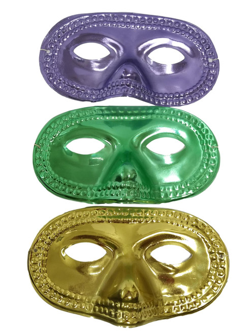 12 (1 dozen) Purple Green Gold Metallic Round Half Mask Masks Mardi Gras Party