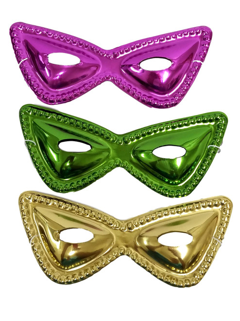 12 (1 dozen) Purple Green Gold Metallic Cat Eye Mask Masks Mardi Gras Party