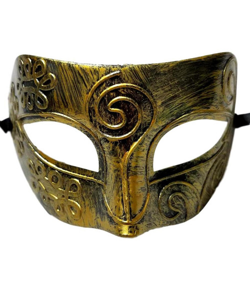 Antique Gold Black Roman Greek Men Venetian Mardi Gras Party Masquerade Mask