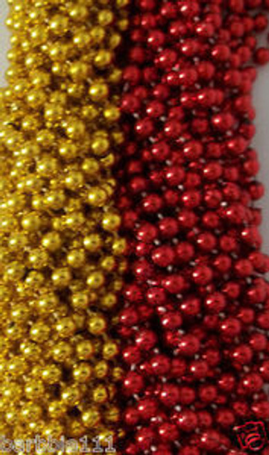 Lot Red Gold 49er's Mardi Gras Beads Football Tailgate Party Favors 24 48 72