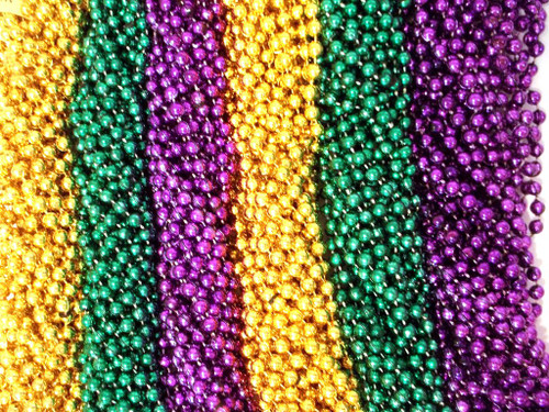 Purple Green Gold Mardi Gras Beads Necklaces Party Favors