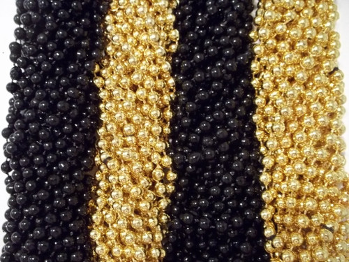 Black and Gold Mardi Gras Beads Necklaces Party Favors Saints Steelers