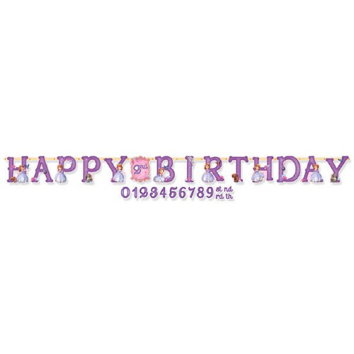 Unique Party 49487-9ft Purple /& Pink Happy Birthday Banner