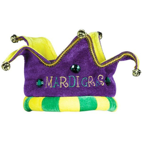 Mardi Gras Royalty Crown Hat Felt Fabric Soft Costume Wear Purple Green