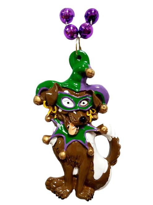 Dog Puppy Jester Mask Pendant Mardi Gras Necklace Bead