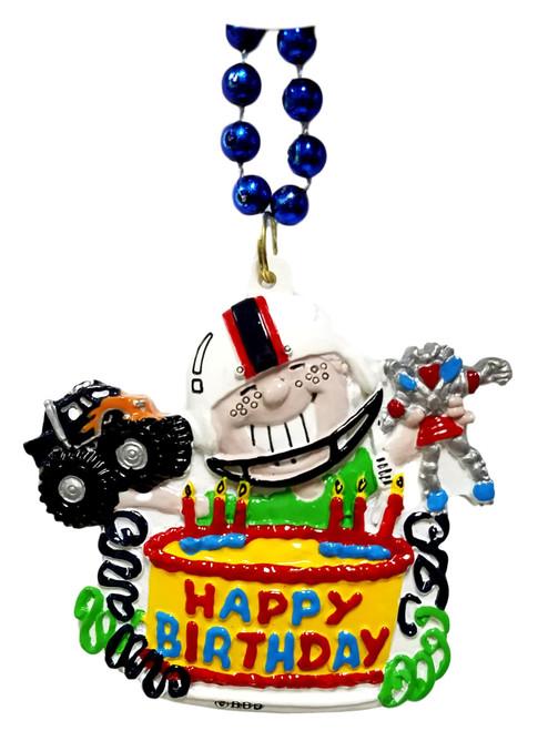 Happy Birthday Boy Blue Pendant Mardi Gras Necklace Beads Bead