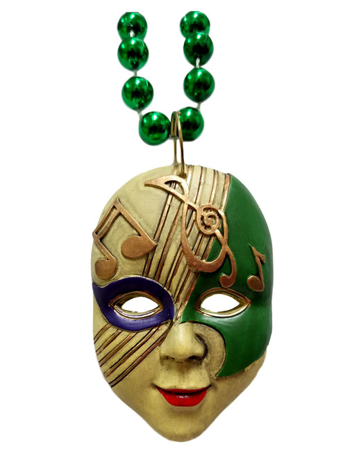 Musical Note Mask Pendant Mardi Gras Necklace Music Bead