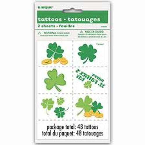 Happy St Patrick's Day 12 Temporary Tattoos Clover Shamrock Gold