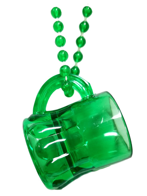 Beer Mug Shot Glass on Mardi Gras Bead Necklace St. Patrick's Day Useable