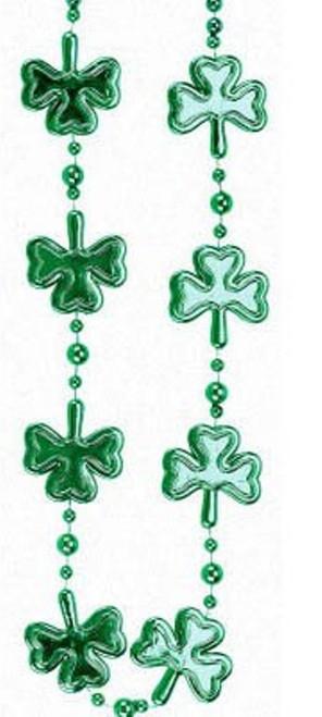 Shamrock Clover Green Mardi Gras Bead Necklace St Patrick's Day