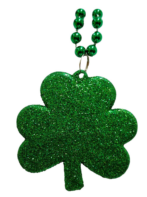 Glitter Large Shamrock Clover Green Mardi Gras Bead Necklace St Patrick's