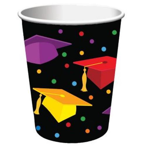 """Graduation Fest 9 oz Paper hot cold Cups 18 ct """"Congratulations Grad"""" Party"""