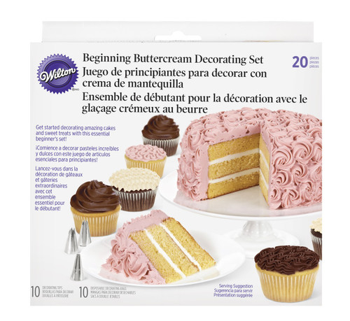 Wilton 20 Pc Buttercream Beginning Decorating Set 10 Tips and 10 Bags