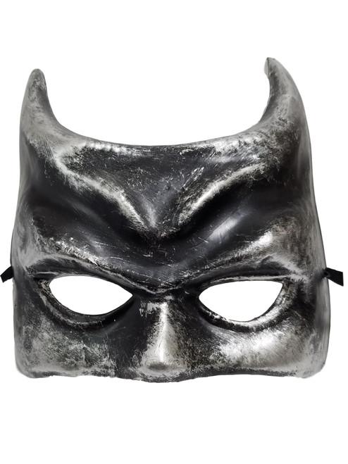 Silver Evil Devil Horns Paper Mache Halloween Mardi Gras Masquerade Mask