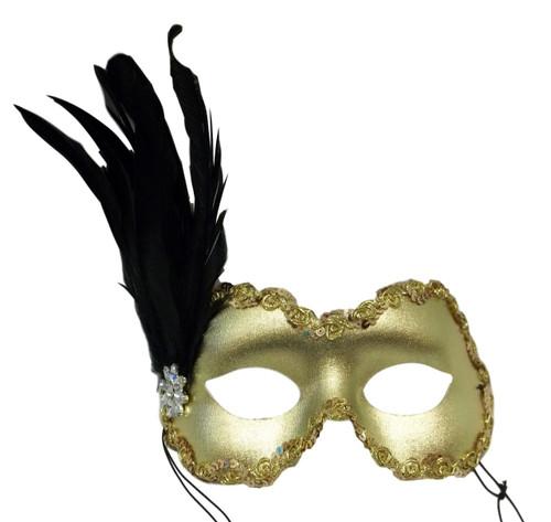 Belle Black Gold Flower Crystal Feather Masquerade Mardi Gras Mask