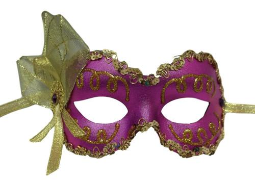 """Angelina"" Purple Gold Lame Ribbon Crystal Masquerade Prom Ball Mask"