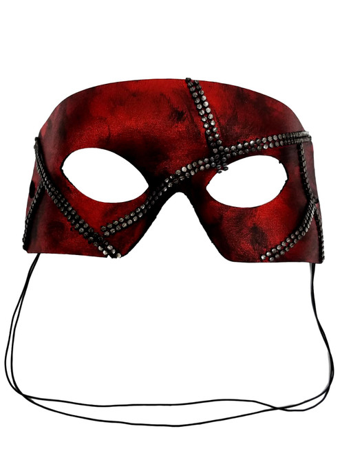 """Rafe""  Dark Red Pewter Metal Stud Steampunk Masquerade Prom Mask"